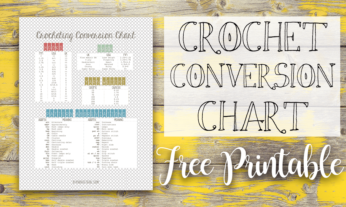 Knitting Pattern Conversion Chart : Crochet Conversion Chart Free Printable - Tastefully Eclectic