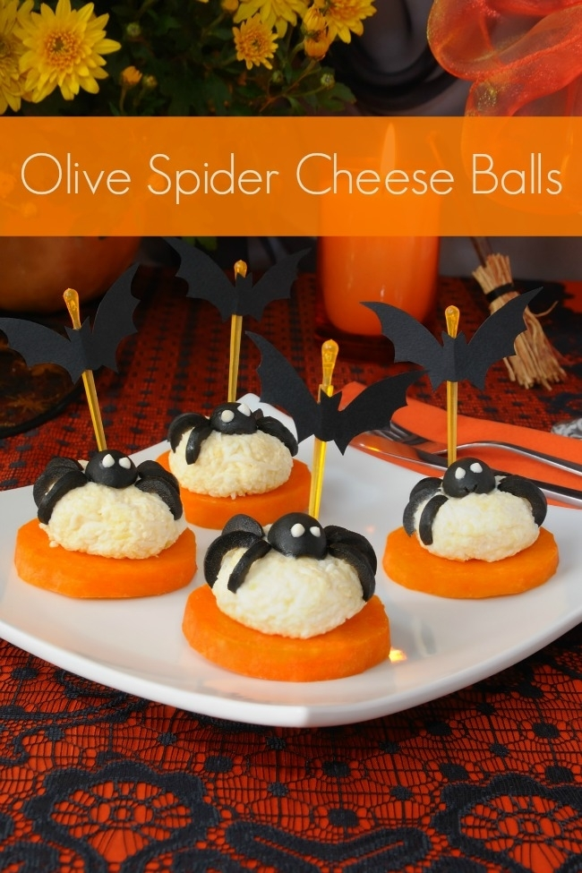 31 halloween party snacks tastefully eclectic 12 olive spider cheese balls forumfinder Choice Image
