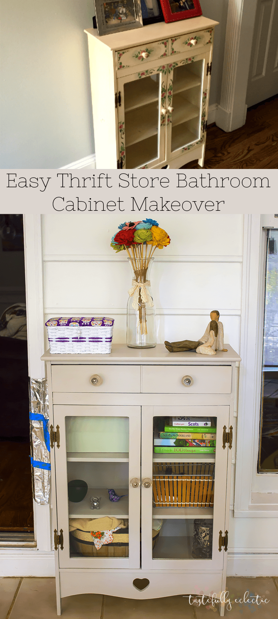 Easy Thrift Store Cabinet Makeover (No Sanding!) - Tastefully Eclectic